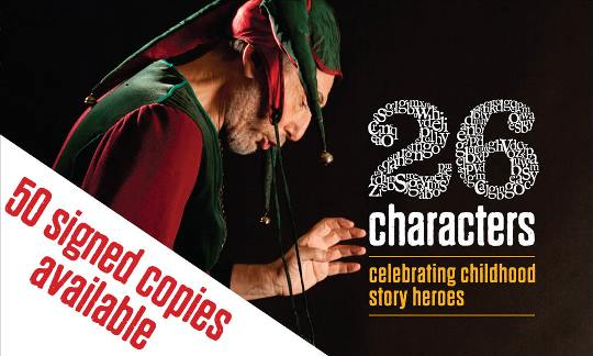 Image: cover of 26 Characters book with text '50 signed copies available'.