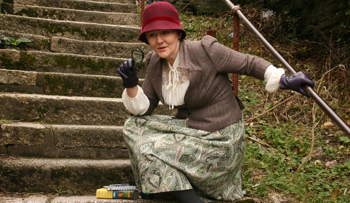 A photo of Suzie Cunliffe dressed as a detective