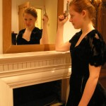 A girl poses as Sally Lockhart from The Ruby In The Smoke