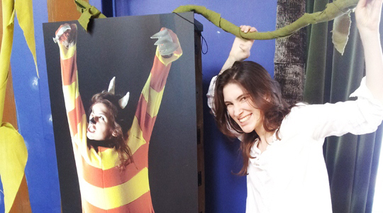 Katherine Rundell in the Where The Wild Things Are installation.