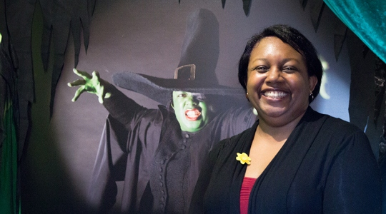 Malorie Blackman in the Wicked Witch of the West installation.