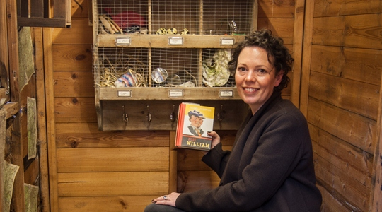 Olivia Colman (voice of many stories in the exhibition) in Just William's Shed.
