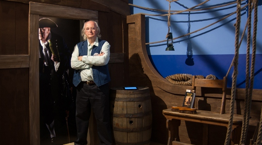 Philip Pullman in the Long John Silver installation.