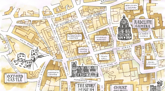 Image: a hand-drawn map of Oxford.