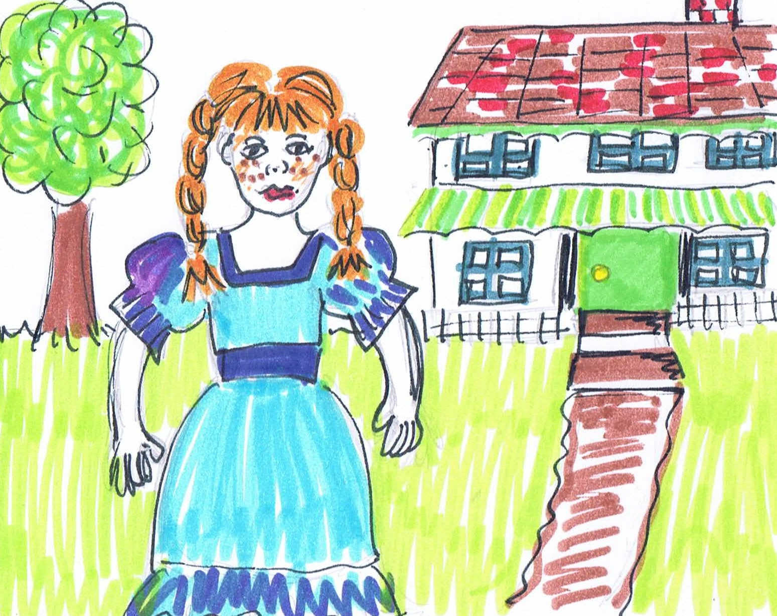 Image: Child's drawing of Anne of Green Gables