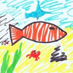 Image: child's drawing of a clownfish