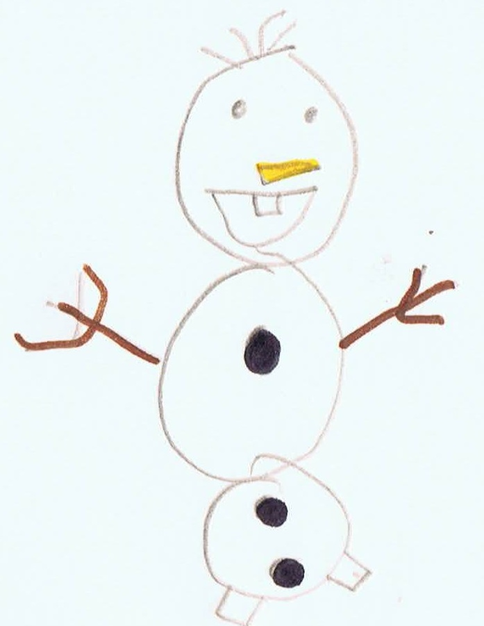 Image: child's drawing of Olaf the Snowman from Frozen